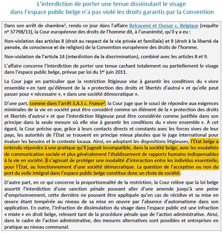 Belgique la cedh valide l 39 interdiction du port du niqab - Interdiction du port du voile en france ...