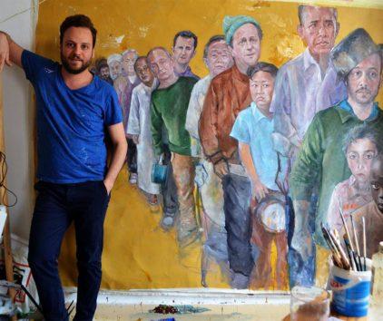Les vulnérables… Un peintre syrien réinvente les puissants de ce monde en réfugiés