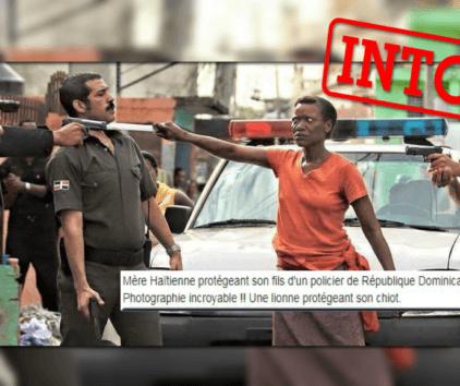 Cette photo virale ne montre pas une mère défendant son fils machette à la main
