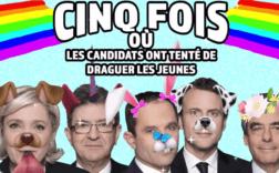 """Vidéo """"cinq fois où les candidats ont tenté de draguer les jeunes"""". Capture d'écran"""